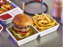 Burger & Chips served in porcelain burger box with wooden gun skewer