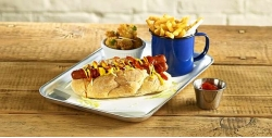 Hot Dog Served on a Galvanised Tray with Enamel Cup for Chips