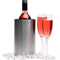Stainless Steel Wine Cooler with wine and glasses