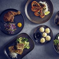 Black Terra Porcelain Plates with food