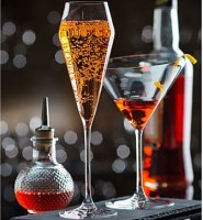 Champagne and Martini glass with drinks