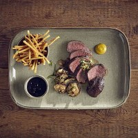 Grey Terra Porcelain Rectangular Plate with food