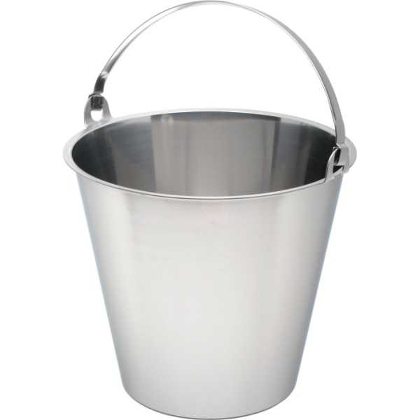 10 Litre Stainless Steel Plain Base Bucket Graduated in Litres