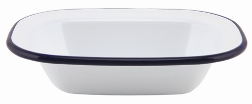 16cm White Enamel Rectangular Pie Dish with Blue Rim