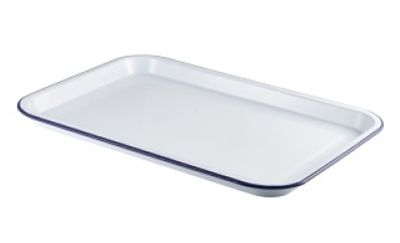 White Enamel Serving Tray with Blue Rim