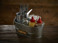 Oval Galvanised Table Caddy used for condiments