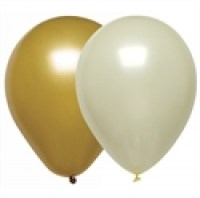 Cream and Gold Metallic Party Balloons 12inch / 30cm