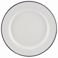 20cm White Enamel Wide Rim Plate with Blue Rim