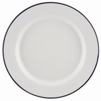 24cm White Enamel Wide Rim Plate with Blue Rim