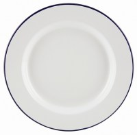 26cm White Enamel Wide Rim Plate with Blue Rim