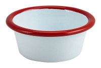WHITE Enamel Ramekin with Red Rim 8cm