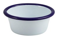 WHITE Enamel Ramekin with Blue Rim 8cm