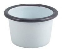 WHITE Enamel Ramekin with Grey Rim 7cm