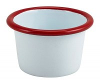 WHITE Enamel Ramekin with Red Rim 7cm
