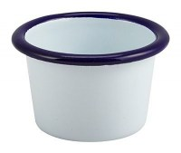 WHITE Enamel Ramekin with Blue Rim 7cm