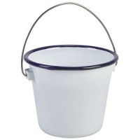100mm White Enamel Bucket with Blue Rim