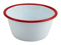WHITE Enamel Round Pie Dish with Red Rim