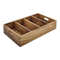 Acacia Wood 4 Compartment Cutlery / Display Tray