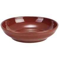 Rustic Stoneware Round Coupe Bowl in RED