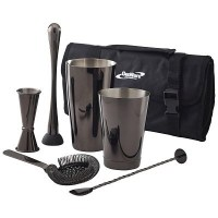 Gun Metal Black 7 Piece Cocktail Set