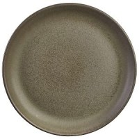 Rustic Stoneware Round Coupe Plate in ANTIGO GREY