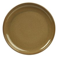 Rustic Stoneware Round Coupe Plate in BROWN