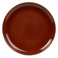 Rustic Stoneware Round Coupe Plate in RED