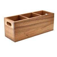 Acacia Wood 3 Compartment Cutlery Tray