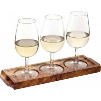 Acacia Wood 3 Glass Flight Board with Wine Glasses