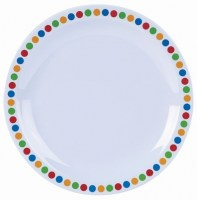 Melamine Plate with Coloured Patterned Rim