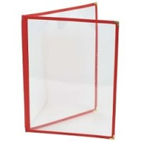 A4 RED American Style Menu Holder 4 Page Facing