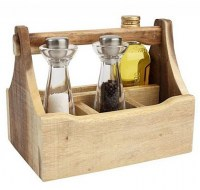 Nordic Natural 4 Compartment Wooden Table Caddy with condiments