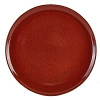 Rustic Stoneware Round Pizza Plate in RED