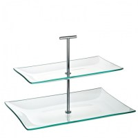 Aura 2 Tier Glass Cake Stand 30cm