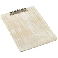 A4 White Wash Wooden Menu Clipboard