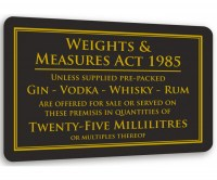 Weights & Measure Sign for Spirits 25ml & 50ml