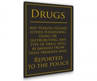 Drugs Warning Sign For Pubs and Bars
