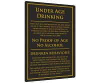 Under Age Drinking Sign for Pubs & Bars