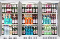 Stainless Steel Fronted Triple Door Bottle Cooler with hinged doors