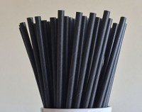 Solid Black Paper Drinking Straw 19.5cm / 8inch