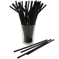 Black Flexi Drinking Straw 8inch / 200mm