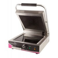Wipe Clean Single Ceramic Ribbed Contact - Panini Grill