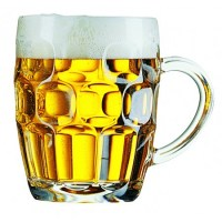 Pint to Brim Dimples Beer Mug Tankard with Beer