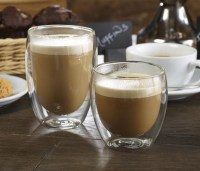 25cl & 35cl Double Wall Coffee Glass with coffee
