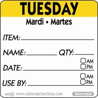 TUESDAY Removable Day Label