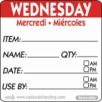 WEDNESDAY Removable Day Label