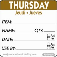 THURSDAY Removable Day Label