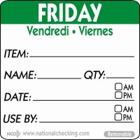 FRIDAY Removable Day Label