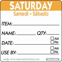 SATURDAY Removable Day Label