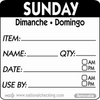 SUNDAY Removable Day Label